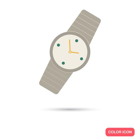 prestige: Male watch color flat icon Illustration