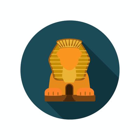 sphinx: Sphinx statue color icon. Flat design