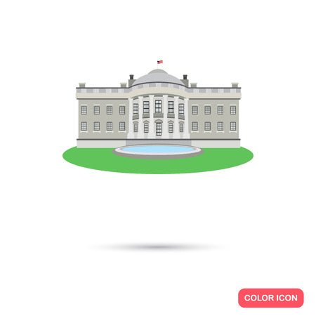 Washington White House color icon. Flat design Illustration