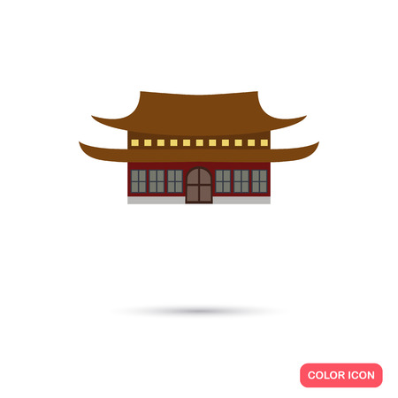 tibet: Tibet temple color icon. Flat design Illustration