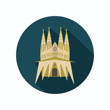 Sagrada Familia color icon. Flat design