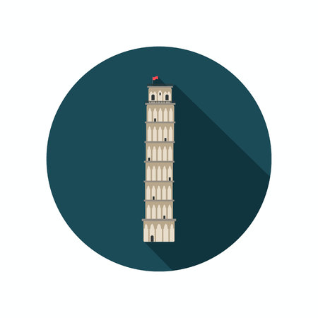 leaning tower: Leaning tower of Pisa color icon. Flat design Illustration