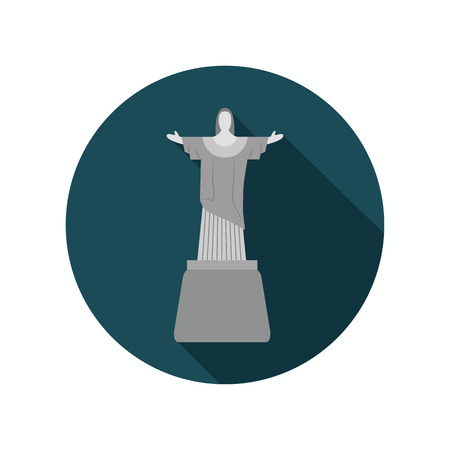 redeemer: Statue of Christ the Redeemer color icon. Flat design