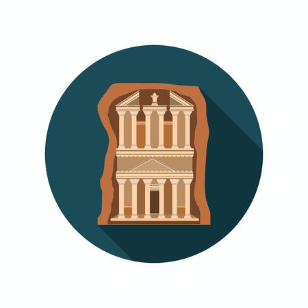 Ancient city of Petra color icon. Flat design