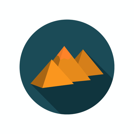 egyptian pyramids: The Egyptian pyramids color icon. Flat design