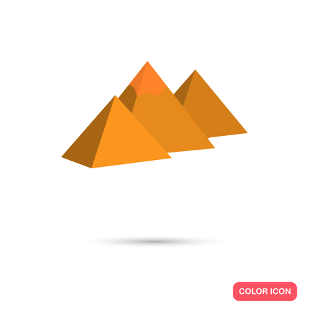 egyptian pyramids: The Egyptian pyramids color icon. Flat design