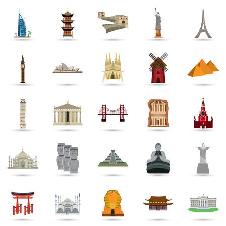 esfinge: Conjunto de veinticinco iconos turísticos atractivos colores de color. Diseño plano