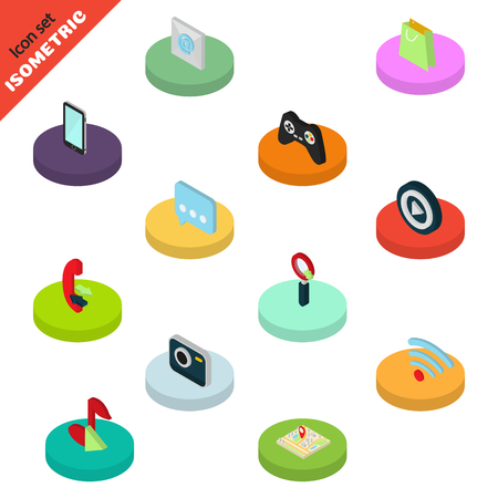 functionality: Isometric set of color mobile functions icons. Modern isometric concept
