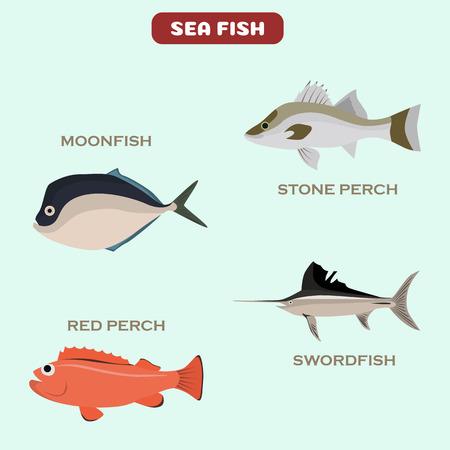 Set of color flat sea fish color icons. Flat design