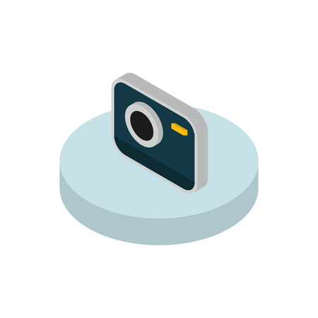 functionality: Isometric icon camera functions in a mobile phone. Modern isometric concept