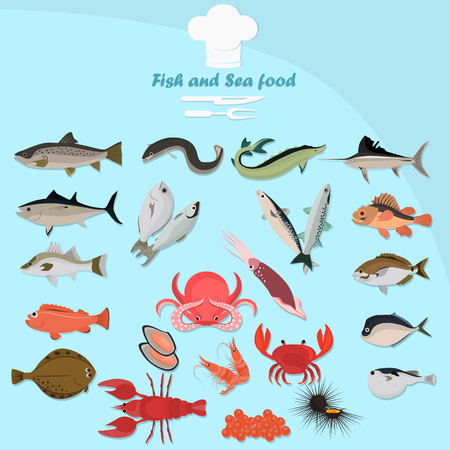 Set of color flat sea food and fish color icons. Flat design