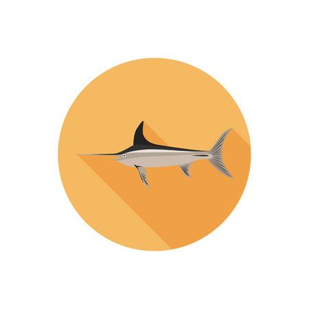 pez espada: color de pez espada icono plana