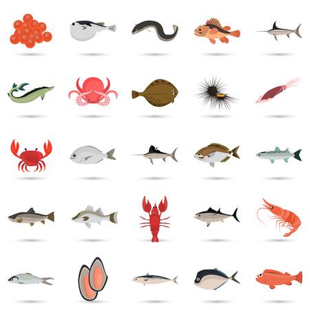 dorado: Set of color flat sea food and fish color icons. Flat design