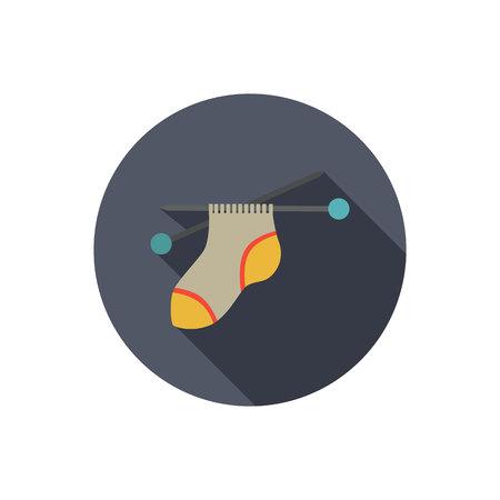Le processus de chaussette à tricoter couleur icône plat Vecteurs