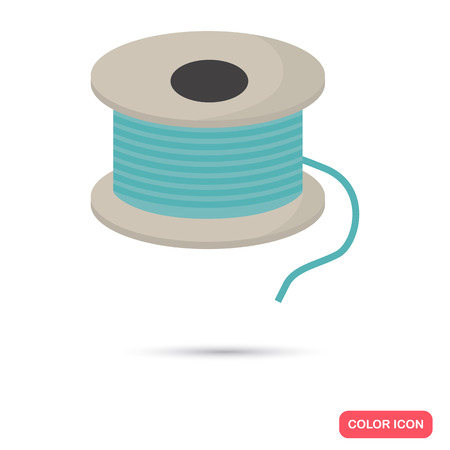 bobbin: Sawing bobbin with thread color flat icon Illustration