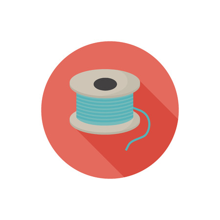 Sawing bobbin with thread color flat icon Illustration