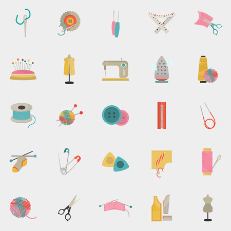 twenty five: Set of twenty five knitting and sewing color flat icons
