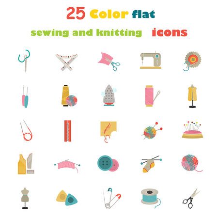 borehole: Set of twenty five knitting and sewing color flat icons