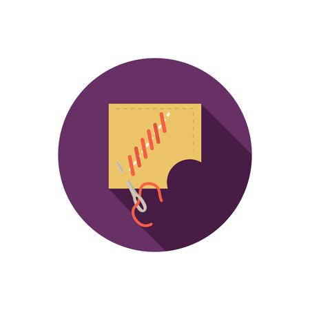 seam: Sewing seam color flat icon Illustration