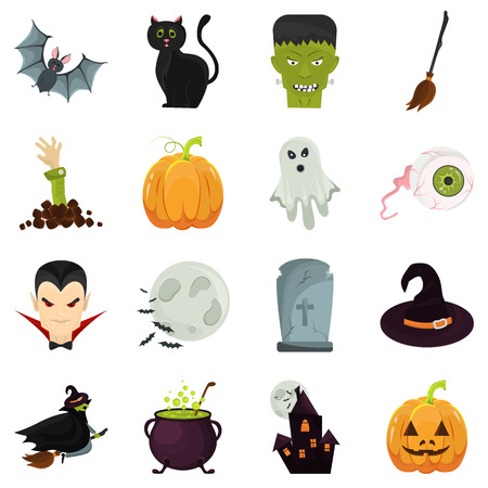 artoon: Color Halloween elements set in Cartoon style. Stock Vector icon. Illustration for web and mobile design