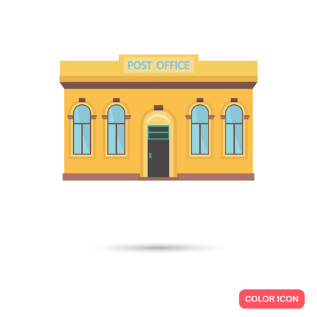 post office building: Color post office building flat icon. Stock Vector icon. Illustration for web and mobile design