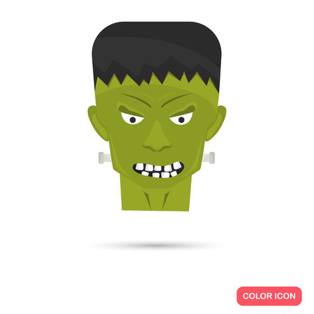 artoon: Color Frankenstein head in Cartoon style. Stock Vector icon. Illustration for web and mobile design