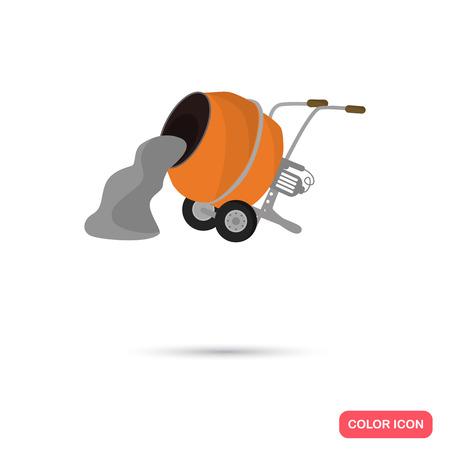 Kolor betoniarka płaskim ikony. Ikona Grafika wektorowa. Ilustracja do projektowania stron internetowych i mobilnych