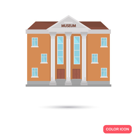 window display: Color museum building flat icon. Stock Vector icon. Illustration for web and mobile design
