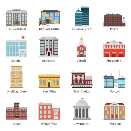 icons: Color city elements buildings icons flat set. Stock Vector icon. Illustration for web and mobile design Illustration