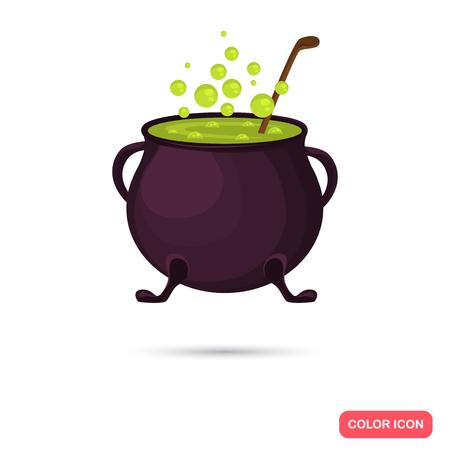 pocima: olla de bruja de color con la poción en el estilo de dibujos animados. Vector icono stock. Ilustración para la web y para dispositivos móviles Vectores