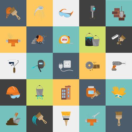 color construcción conjunto de iconos plana. Vector icono stock. Ilustración para la web y para dispositivos móviles