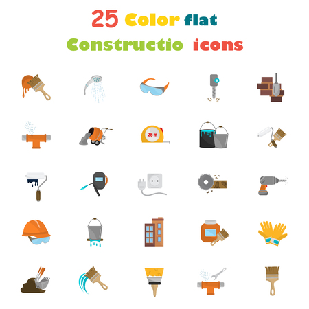 Color construction flat icon set. Stock Vector icon. Illustration for web and mobile design