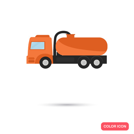 Color flat vacuum truck, icon. Flat design  イラスト・ベクター素材