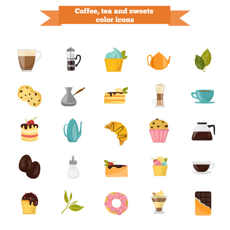 Set of different color coffee, tea and sweets icons. Flat design. Modern concept for web and mobile Illustration