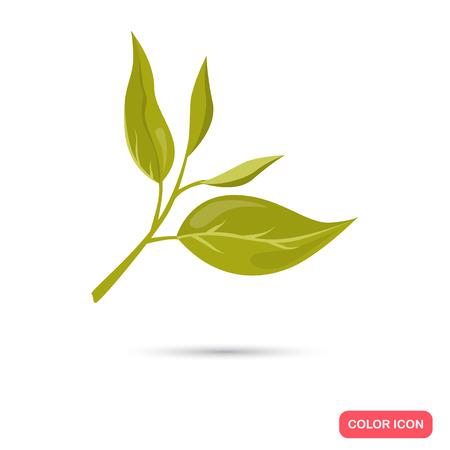 Color flat tea leafs icon. Flat design