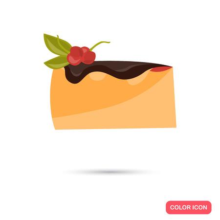 Color flat piece of cacke icon. Flat design Illustration