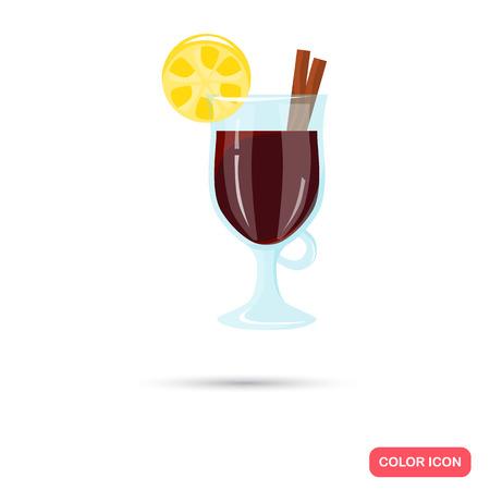 Farbe Flach Wein Cocktail Symbol Glühwein. Flaches Design Vektorgrafik