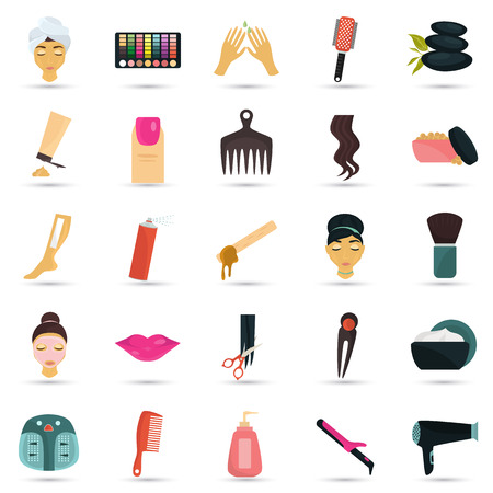 hairpin: Spa and deauty set. Spa and deauty set color flat. Spa and deauty set icon. Spa and deauty set web. Spa and deauty set illustration. Spa and deauty set isolated