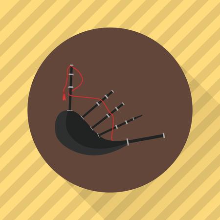 gaita: Gaitas instrumento musical. icono de color plana Vectores