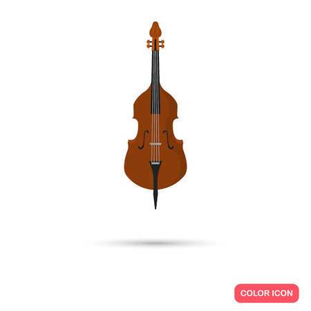 contrabass: Contrabass music instrument. Color flat icon Illustration