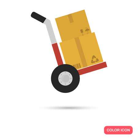 Wheelbarrow with boxes color icon. Flat design. Delivery theme for web and mobile Illustration