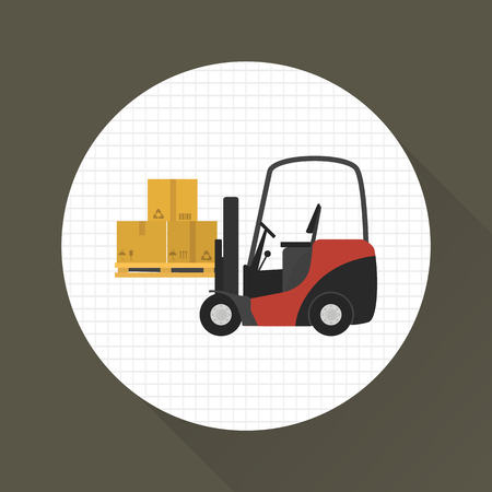 Forklift lift boxes color icon. Flat design. Delivery theme for web and mobile
