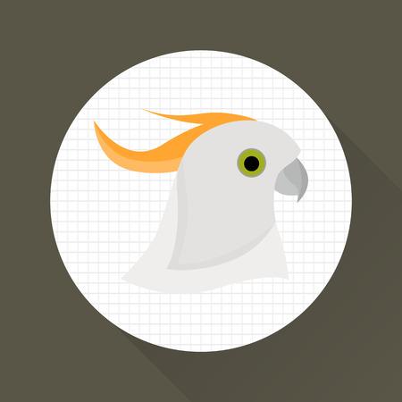 Parrot cockatoo color icon. Flat design. Pet shop theme