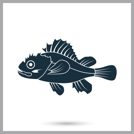 scratchy: Marine brush fish icon. Simple design for web and mobile
