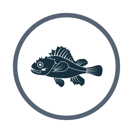 Marine brush fish icon. Simple design for web and mobile