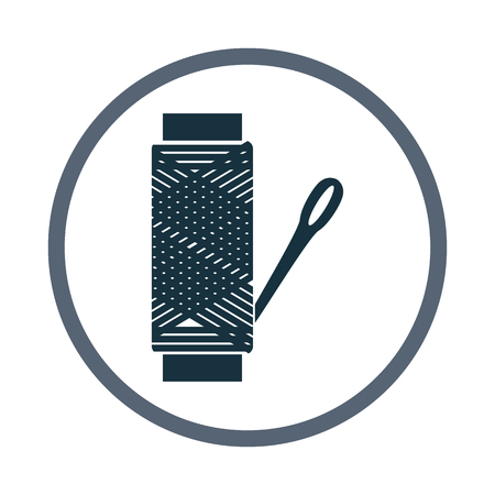 puncture: Spool of thread and needle icon. Simple design for web and mobile