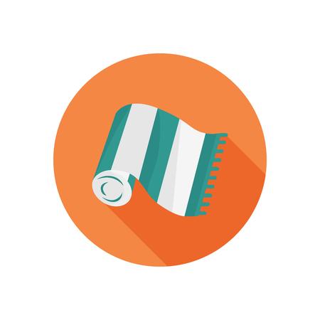Plaża kolor ręcznik ikonę. Płaskie wzornictwo dla sieci i komórek Ilustracje wektorowe