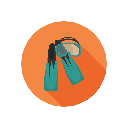 Snorkeling mask and flippers color icon. Flat design foe web and mobile
