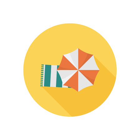 wiping: Beach towel and umbrella color icon. Flat design foe web and mobile Illustration