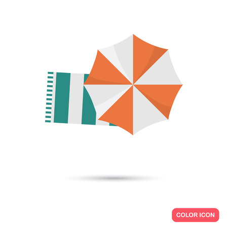absorb: Beach towel and umbrella color icon. Flat design foe web and mobile Illustration